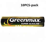 10PCS Greenmax 1.5V AAA Alkaline Batteries