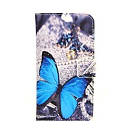Blue Butterly Pattern PU Leather Case with Stand and Card Slot for Motorola Moto G2/XT1063