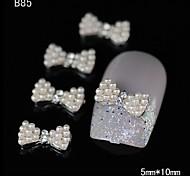 10pcs Beauty White Pearl Bowtie Rhinestone DIY Alloy Nail Art Decoration