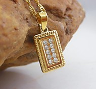 18K Golden Plated Rectangular Zircon Pendant