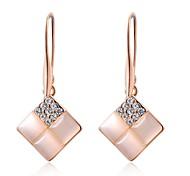 edle 18k rosé vergoldet Schmuck Verwendung leuchtenden Kristall quadratischen Opal Wassertropfen Ohrringe