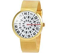 Women's Gold Round Case Steel Band Quartz Fashion Watch