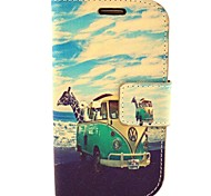 Giraffe Car Pattern PU Leather with Case and Card Slot for Samsung S3 Mini I8190
