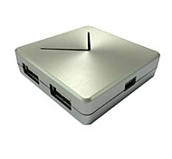 Mini USB de alta velocidade do adaptador de 4 portas 2.0 hub poder de expansão para notebook pc (prata)