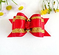 Christmas Series Lovely Red-Golden Ribbon Style with Rhinestone Decorated Rubber Band Hair Bow for Pet Dogs
