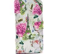 Motif Rose eiffel de fleurs de la tour pu étui en cuir avec porte-cartes de support pour Samsung Galaxy Note 4