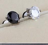 aretes de circonio diamante europeo (negro, blanco) (1 pc)