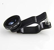 klw 3 en 1 lente gran angular / macro / lente de ojo de pez 180 / kit listo para iphone 5/6 / ipad y otros