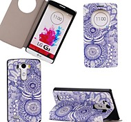 New Fashion Blue Mandala Pattern PU Leather Open Window Full Body Case Stand Case for LG G3