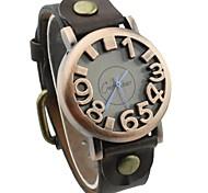 ronde unisexe cadran pu montre de mode bande de quartz (couleurs assorties)