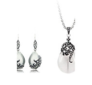 Elegant Opal Water Drop Shape Jewelry Set(Necklace & Earring)