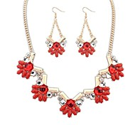 Z&X®  Fashionable Necklace And Drop Earrings Jewelry Set (1 set, 3 Colors Options: Blue, Red, Green)