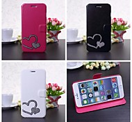 DIY Heart-shaped with Rhinestone Leather Case with Stand for iPhone 6 Plus(Assorted Colors)