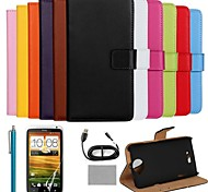 COCO FUN® Luxury Ultra Slim Solid Color Genuine Leather Case with Screen Protector,Cable and Stylus for HTC One X