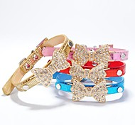 Pu Leather Rhinestone  Drilling Butterfly Collar for Dogs and Pets(assorted colours ,size)