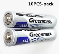 10pcs Greenmax 1.5V AAA batterie zinco - carbone di manganese