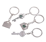 Personalized Engraving Clover Metal Couple Keychain