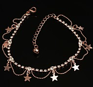 Free Shipping Fashion Star Pendant Rhinestone Cystal Rose Gold Anklets