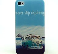 Animal Car Pattern PU Leather Back Case for iPhone 4S