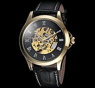 FORSINING Herren Armbanduhr Mechanische Uhr Automatikaufzug Transparentes Ziffernblatt Leder Band Luxuriös Schwarz Braun Schwarz Braun