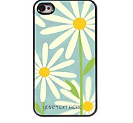Personalized Phone Case - White Flower Design Metal Case for iPhone 4/4S