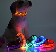 Pets Dog LED Lights Flash Night Safety  Leopard Nylon Collar Adjustable S-XL Random Color