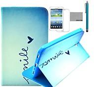 """coco Fun® niedlichen Herz-Muster PU-Leder Flip-Standplatzfall mit Film und Stylus für Samsung Galaxy Tab 3 7 """"t210 P3200"""