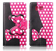 Dark Pink Bowknots Pattern PU Leather Full Body Case with Stand for Samsung Galaxy Alpha G850F