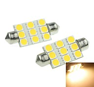 41MM(SV8.5-8) 3W 9x5054SMD 160-180LM 3000-3500K  Warm White Light Led Bulb for Car License Plate Lamp 2PCS (DC12-16V)