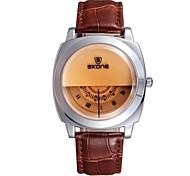 relógio de couro personalidade banda de pulso de quartzo dos homens (cores sortidas)