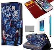 Coco fun® padrão azul cabine lobo couro pu caso de corpo inteiro com o filme e ficar de pé e stylus para iphone 5 / 5s