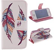 Colored Feather Patterns PU Leather Full Body Cover with Stand and Money Holder for iPhone 4/4S