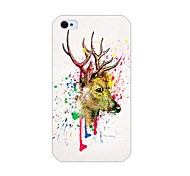 Watercolor Deer Head Pattern Back Case for iPhone 4/4S