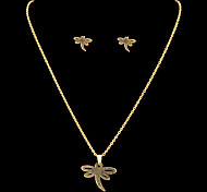 Fashion Dragonfly Shape Golden Stainless Steel Jewelry Sets(1 Set)