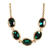 JANESTONE Women's Fashion Dark Green Gemstone Alloy Chain Luxury Statement Necklace
