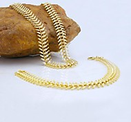 18K Golden Plated Necklace Bracelet Jewelry set