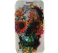 Kinston Flower Decorated Skull Coloured Drawing Pattern PU Leather Full Body Case with Stand for Motorola Moto X