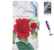 Rose Flower Pattern PU Leather Case with Screen Protector and Stylus for iPhone 6