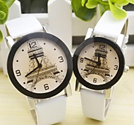 Couple's Leisure Leather Strap Circular Quartz Watch(Assorted Colors)