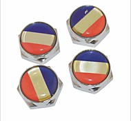 DIY French Flag Pattern Universal Metal License Plate Bolt Screw Caps for Car