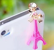 1pcs torre Eiffel bowknot conector de 3,5 mm anti-polvo para el iphone y otros 6 (colores aleatorios)