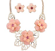Z&X®  Sweet Flowers Necklace And Earrings Jewelry Set (1 set, 3 Colors Options: Pink, Blue, Green)