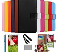 COCO FUN® Luxury Ultra Slim Solid Color Genuine Leather Case with Film,Cable and Stylus for LG G2(Assorted Colors)
