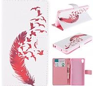 Beautiful Red Feather Design PU Leather Full Body Case with Stand for Sony Z2