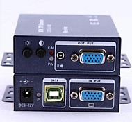 kvm 1x1 vga audio utp extensor sobre CAT5 / 5e / 6 hasta 200m, transmitir video vga y señal usb-ps2 más de un cable de red
