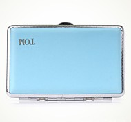 Personalized Blue Metal Cigarette Case Leather