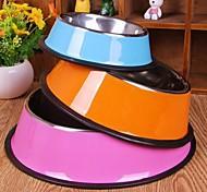 bol en acier inoxydable de haute qualité pour animaux de compagnie chiens diamètre du fond du bol: 15cm couleur aléatoire