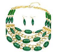 perles de verre vertes ensemble de bijoux