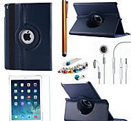 Litchi Rotating PU Leather with Protective Film、Stylus、Headset and Dust Plug for iPad Air 2/iPad 6  (Assorted Colors)