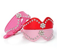 Cat / Dog Collar Reflective / Rhinestone Red / Black / Blue / Pink / Rose PU Leather